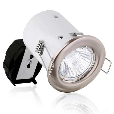 Aurora 240V GU10 Pressed Steel Fixed Square Edge Downlight Fire Protection Satin Nickel (A2-DLM941SN)