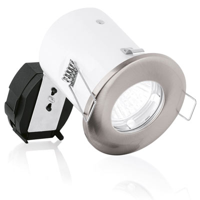 Aurora 240V GU10 Pressed Steel IP65 Downlight Fire Protection Satin Nickel (A2-DLM943SN)