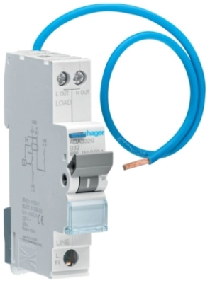 Hager ADA320G, RCBO, Reduced Height B Curve Type A, Single Pole Solid Neutral, Size: 6kA 20A 30mA 92x17.7x73.6mm