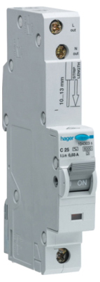 Hager ADC150, RCBO, SP Type C, 1 Module, Size: 50Amp 30mA 10Ka