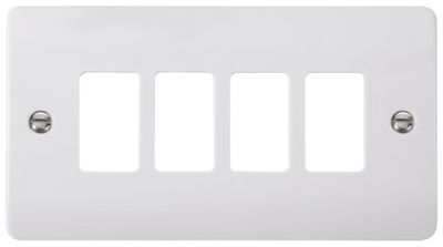 Scolmore CMA20404 4 Gang GridPro® Frontplate in White - Buy online or in store from John Cribb & Sons Ltd
