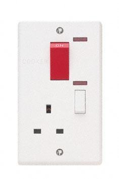 Contactum X1457 45A DP Red Cooker Switch + 13A Switched Socket with Neon (Vertical) - Moulded, White