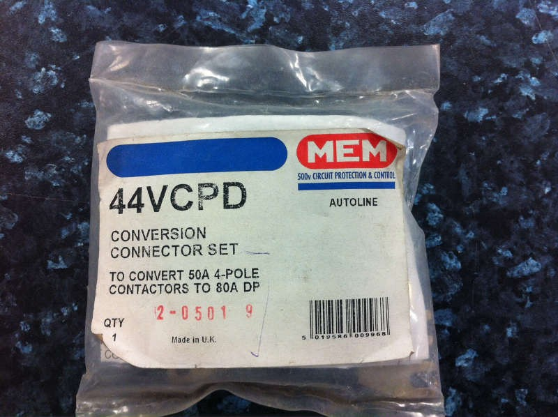 Eaton MEM 44VCPD Conversion Connector Set - to convert 50A 4-pole contactors to 80A DP.