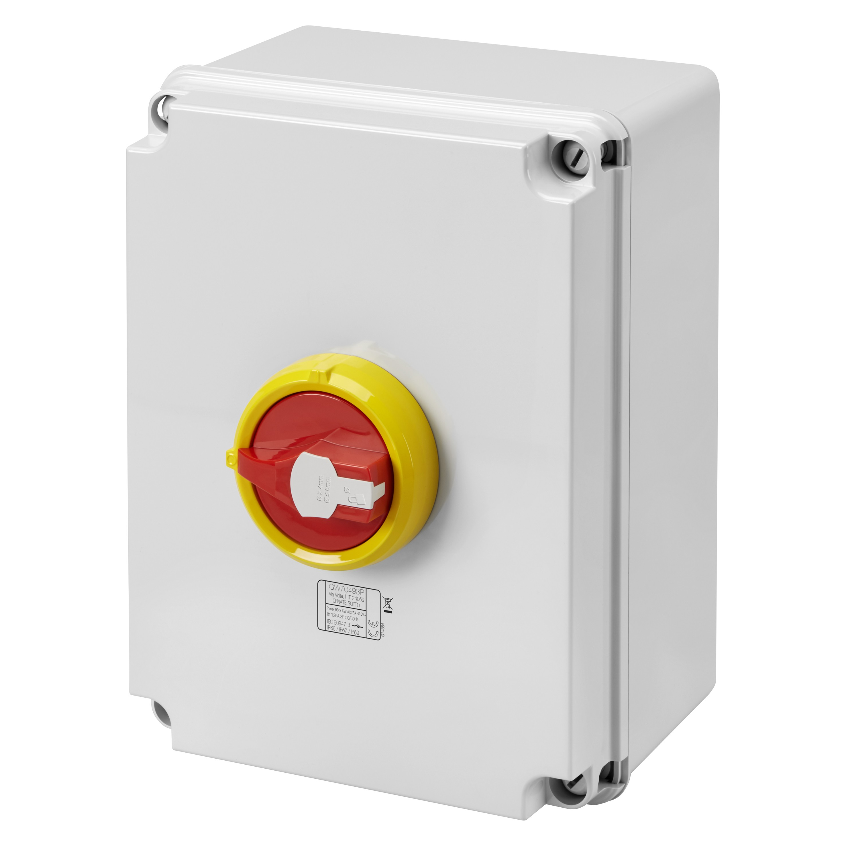 Gewiss GW70494P Isolator HP Emergency 125A 4P IP66/67/69 Isolating Material Box with Lockable Red Knob - Buy online or in store from John Cribb & Sons Ltd