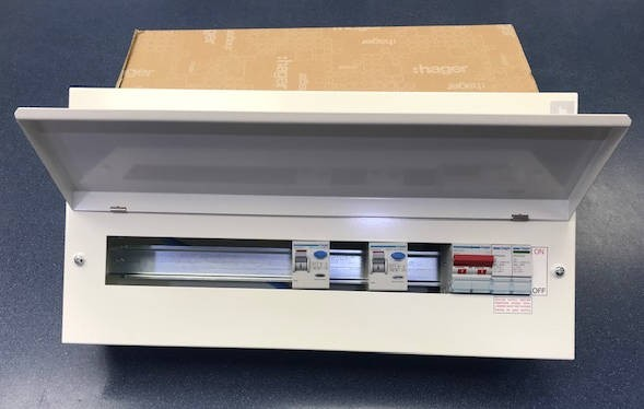 Hager VML914CUSPDRK 14 Way Hi Integrity 100A Switch 2*100A 30mA RCCB Type 2 SPD RKO, plus 10 MCBs free of charge