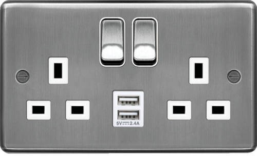 Hager WRSS82BSW-USBS 13A 2 Gang Double Pole Switched Socket c/w Twin USB Ports Brushed Steel White Insert