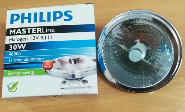 Philips MASTERline, HALOGEN 12V, R111, 30W, 4000h, 111mm aluminium