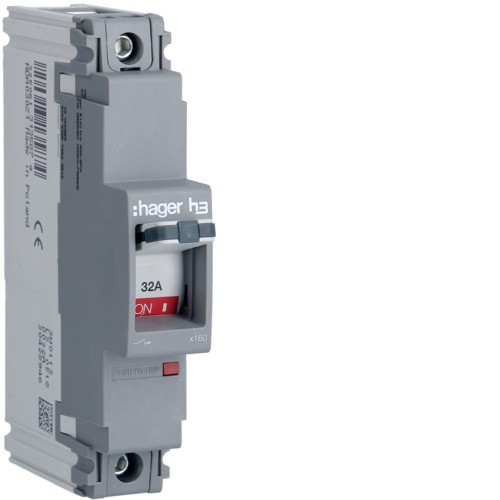 Hager HDA030Z Moulded Case Circuit Breaker h3 x160 TM FIX 1P1D 32A 18kA CTC - Buy online or in store from John Cribb & Sons Ltd