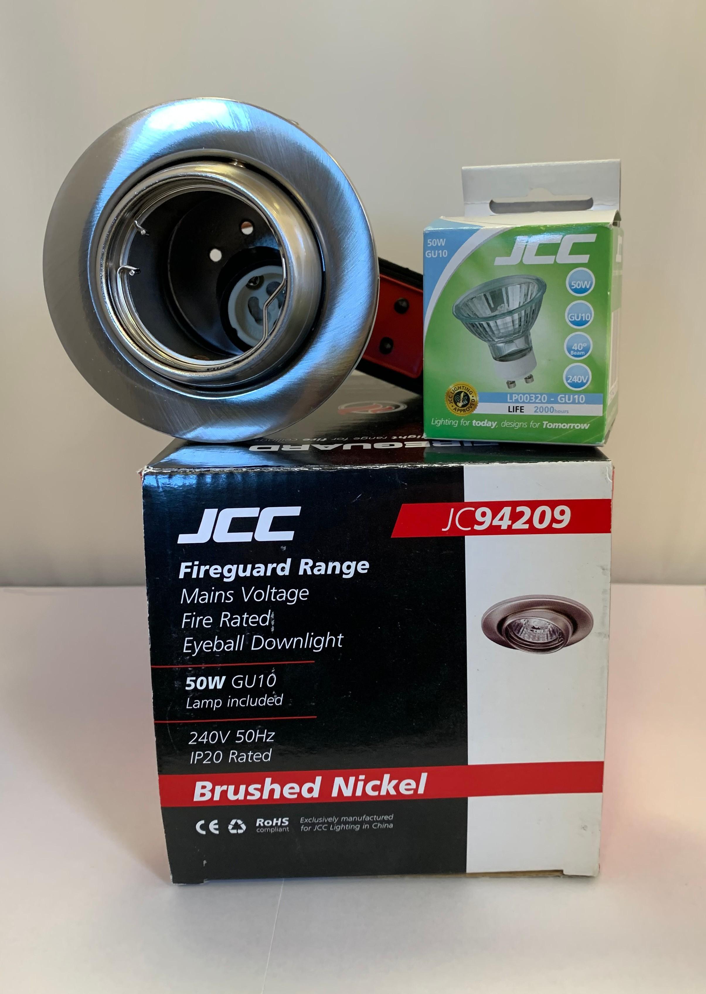 JCC JC94209BN Fireguard 240V 50Hz IP20 50W GU10 Eyeball Downlight in Brushed Nickel - Buy online or in store from John Cribb & Sons Ltd