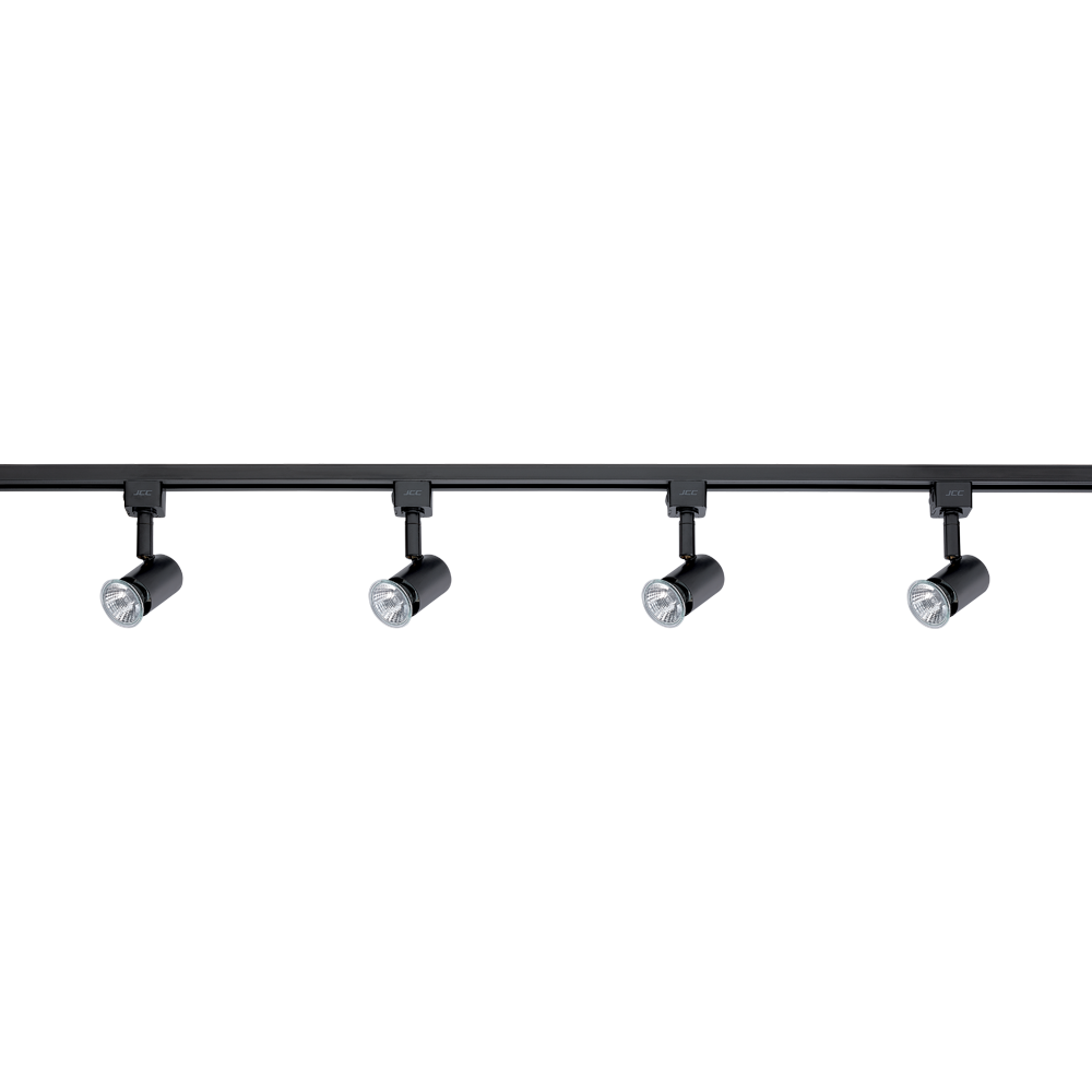 Jcc jc14048blk halogen track kit with four spotlights highspot es50 jcc jc14048blk halogen track kit with four spotlights highspot es50 50w gu10 ip20 black john cribb sons ltd uk electrical distributors dorset aloadofball Image collections