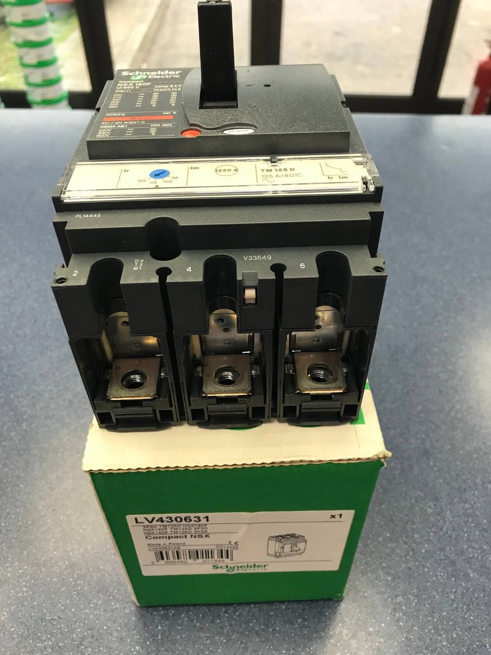SCHNEIDER LV430631, MCCB, Compact NSX160F TP 3d, TM-D Thermal Magnetic, Size: 125A 36kA