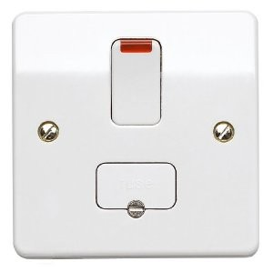 MK Logic K1060WHI DP Switched Fused c/w Neon Connection Unit