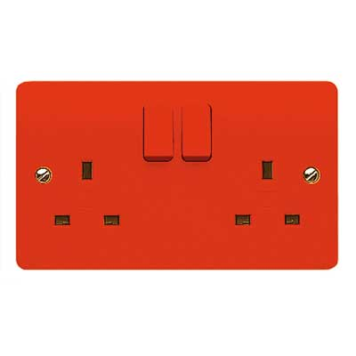 MK Logic K2747D1RED Socket, 13A 2 Gang Switched DP Dual Earth, Red Rockers & Plate