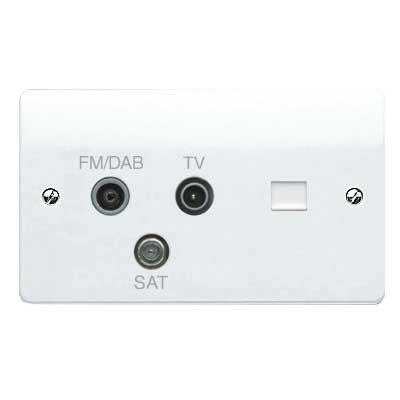 MK Logic K3561DABWHI Socket, 2G TV/FM DAB/SAT Triplexer, BT Secondary