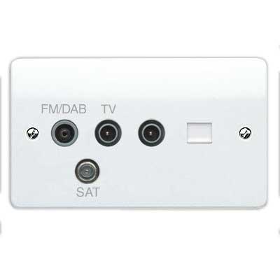 MK Logic K3563DABWHI Socket, 2G TV/FM/DAB/SAT Triplexer TV, BT Secondary