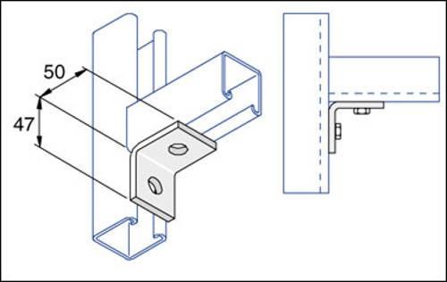 Unistrut Channel P1026, Bracket, 90Deg 2 Hole, Size:50x47mm