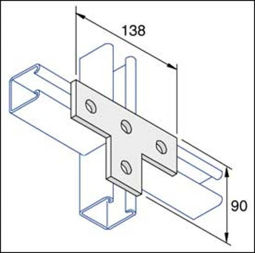 Unistrut Channel P1031,Plate, Flat Tee 4 Hole, Size: 138x90mm