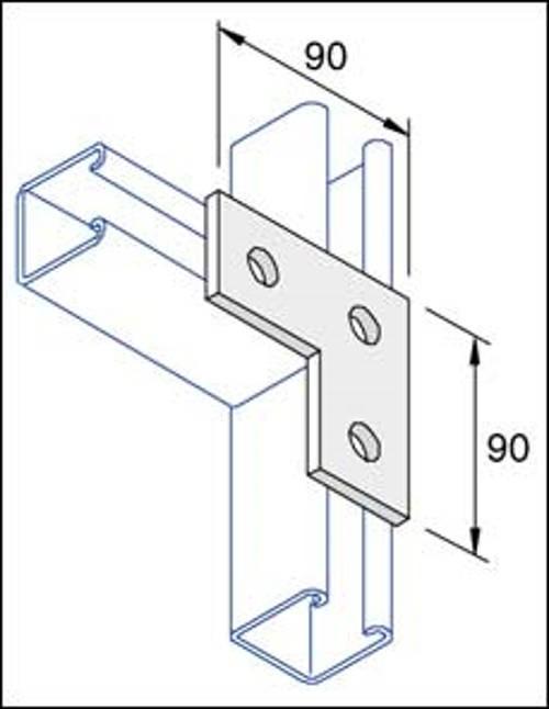 Unistrut Channel P1036 Plate, Flat L Shape 3 Hole, Size: 90x90mm