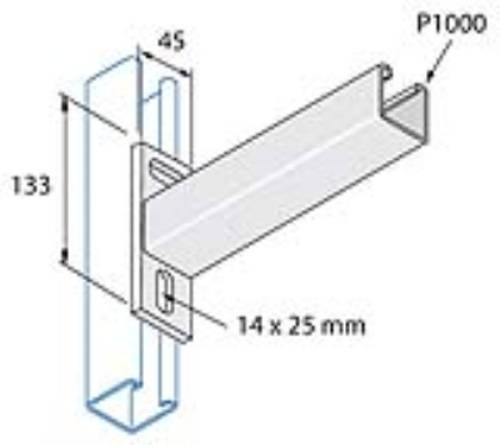 Unistrut Channel P2663/450, Cantilever Arm, for P1000 Channel, Size: 41x41 Plain 450mm