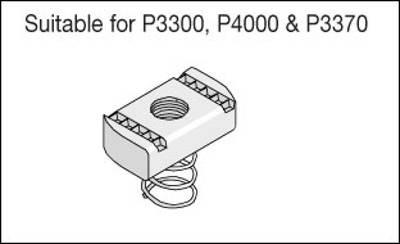 Unistrut Channel PNS06ZP, Channel Nut, Short Spring, Size: M6