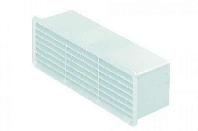 Polypipe Domus 501W, Supertube, Rigid Duct, 204 x 60mm, Outlet Airbrick With Damper, White
