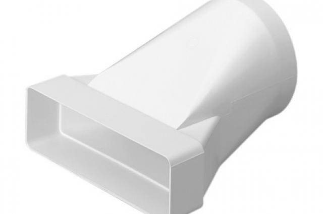 Polypipe Domus 570, Rigid Duct, 204x60-Ø125mm, In-Line Adapter, Round-Rectangular, White