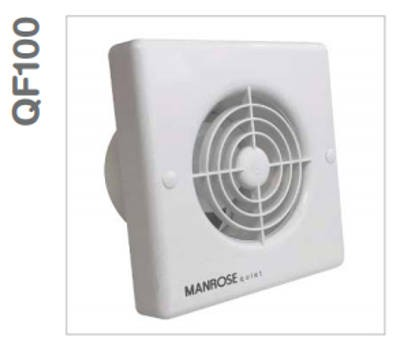 Manrose QF100TX5 Fan, Axial c/w Timer IPX5, Size:	240V 100mm 4in