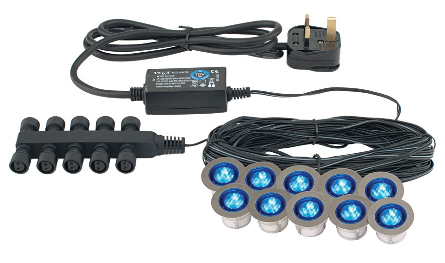 Ikon round medium kit IP67 .15W Blue (13890)