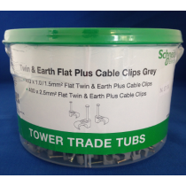 05TUB05 Tower Twin & Earth Flat Plus Cable Clips Tub 1.0 /1.5mm² & 2.5mm², Grey