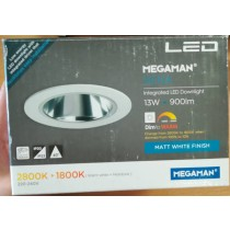 Megaman SIENA 191301 Integrated LED Downlight 13W, 900lm, Dim to Warm, 2800K-1800K