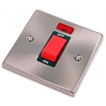 VPSC201BK Click Deco Victorian Satin Chrome 1 Gang 45A DP Switch and Neon, black insert
