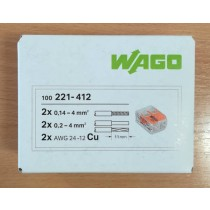 WAGO 221-412 Connector, Splicing 2 Way Compact c/w Levers (box of 100)