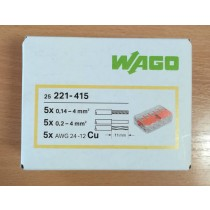 WAGO 221-415 Connector, Splicing 5 Way Compact c/w Levers (Box of 25)
