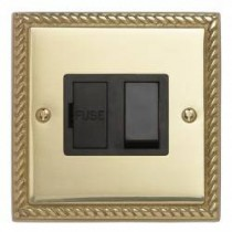 Contactum 3366GBB 13A DP Switched Connection Unit - Georgian Brass, Black Insert