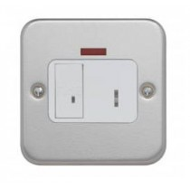 Contactum 3467, 13A DP Key Switch Connection Unit with Neon + Back Box - Metalclad, White Insert