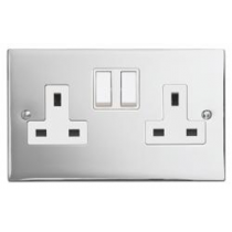 Contactum S3356PCW 2 Gang 13A DP Switched Socket - Polished Chrome, White Insert