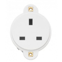 Contactum 1395 Traditional 13A Panel Mounting Circular 1 Gang Socket, White