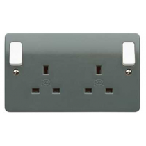 MK Electric K2746GRA 13A Outboard Rocker 2 Gang Switched DP Dual Earth Socket in Graphite - Buy online or in store from John Cribb & Sons Ltd