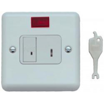 Contactum 3467WS 13A DP Key Switch Connection Unit with Neon, Flush Mounting No Back Box - Metalclad White, White Insert