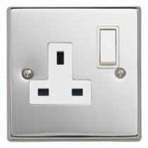Contactum S3346PCW 1 Gang 13A DP Switched Socket - Polished Chrome, White Insert