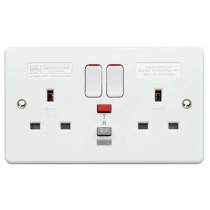 MK Logic K6233WHI Socket, 13A 2 Gang Switched RCD Passive