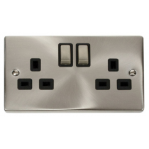 VPSC536BK Click Deco Black Insert Victorian Satin Chrome 2 Gang 13A DP Switched Socket Outlet