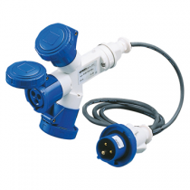 Gewiss GW64052 Multiple Socket Couplers, 3 Outputs IP67, 2m Flexible Cable, Plug 16A, 3 Socket Outlets 2P+E 230V 50/60HZ 6H, Blue