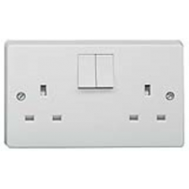 Crabtree 4306 White Moulded 13A 2 Gang Single Pole Switched Socket Outlet - Buy online or in store from John Cribb & Sons Ltd