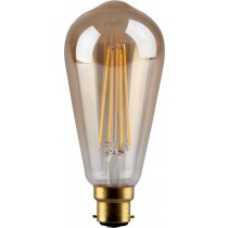 4W LED Filament, ST64, B22, Gold finish, 20000hrs, 2700K