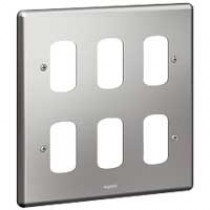Legrand Synergy 833182 2 x 2 Gang 6 Module Grid Plate Brushed Steel
