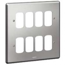 Legrand Synergy 733183 2 x 2 Gang 8 Module Grid Plate Brushed Steel