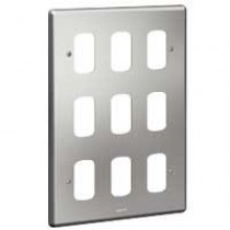 Legrand Synergy 833184 3 x 2 Gang 9 Module Grid Plate Brushed Steel