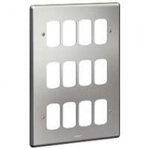 Legrand Synergy 733185 3 x 2 Gang 12 Module Grid Plate Brushed Steel