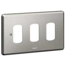 Legrand Synergy 833193 2 Gang 3 Module Grid Plate (Brushed Steel)
